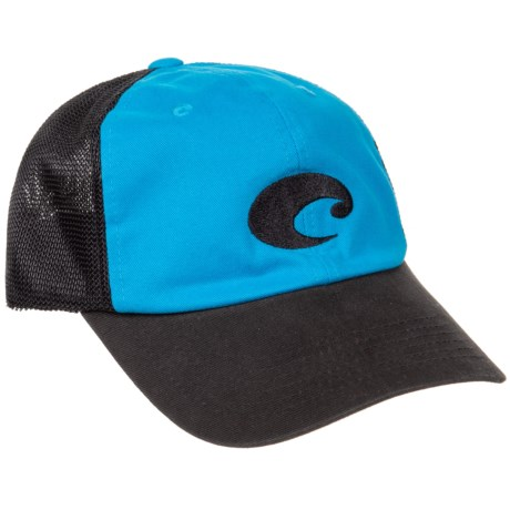 Costa Fitted Stretch Trucker Hat (For Men) in Costa Blue