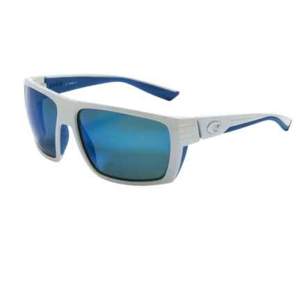 Costa Hamlin Sunglasses - Polarized 400G Glass Mirror Lenses in White Blue Rubber/Blue Mirror - Closeouts