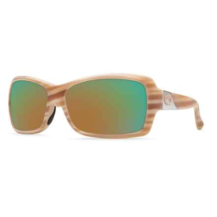 Costa Islamorada Sunglasses - Polarized 400G Glass Mirror Lenses (For Women) in Morena/Green Mirror - Closeouts