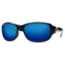 Costa Las Olas Sunglasses - Polarized 400G Glass Mirror Lenses in Black/Blue Mirror 400G - Closeouts