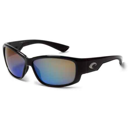 Costa Luke Sunglasses - Polarized 400G Glass Mirror Lenses in Shiny Black/Blue Mirror - Closeouts