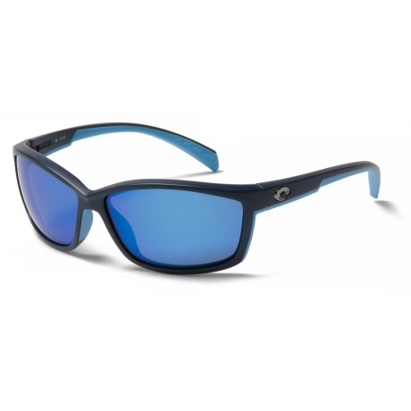 Costa Manta Sunglasses - Polarized 400G Glass Lenses in Matte Heron/ Blue Mirror