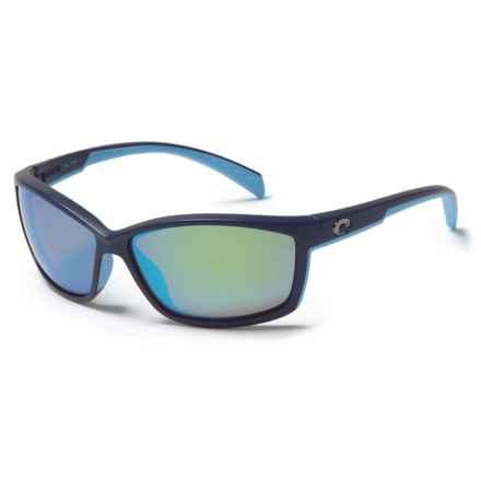 Costa Manta Sunglasses - Polarized 400G Glass Lenses in Matte Heron/Green Mirror - Closeouts