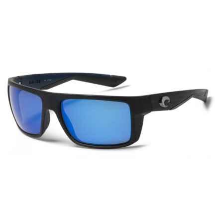 Costa Motu Sunglasses - Polarized 400G Lenses in Matte Black Teak/Blue - Closeouts