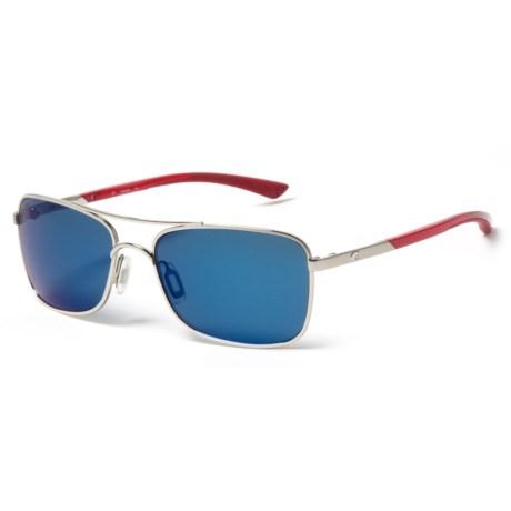 Costa Palapa Sunglasses - Polarized 580P Mirror Lenses in Palladium Crystal Red Temples/Blue Mirror
