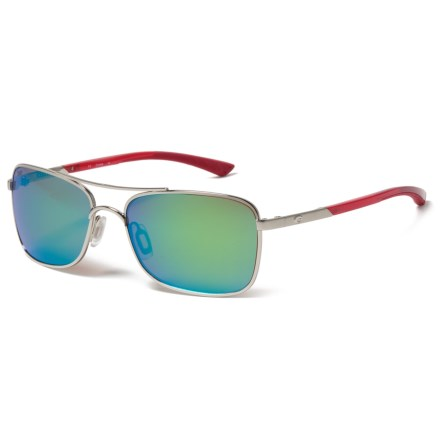 6c78f61cd824 Costa Palapa Sunglasses - Polarized 580P Mirror Lenses in Palladium Crystal  Red Temples Green Mirror