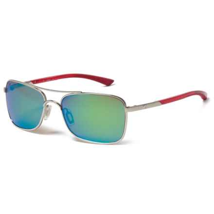 Costa Palapa Sunglasses - Polarized 580P Mirror Lenses in Palladium Crystal Red Temples/Green Mirror - Closeouts