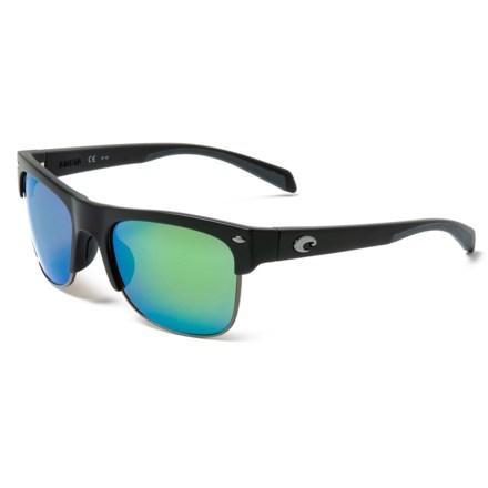 47f927598e Costa Pawleys Sunglasses - Polarized 580P Mirror Lenses in Matte  Black Green - Closeouts