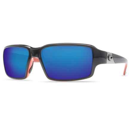Costa Peninsula Sunglasses - Polarized 400G Glass Mirror Lenses in Black Coral/Blue Mirror 400G - Closeouts