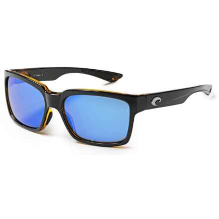 Costa Playa Sunglasses - Polarized 400G Glass Mirror Lenses in Black Amber/Blue Mirror - Closeouts