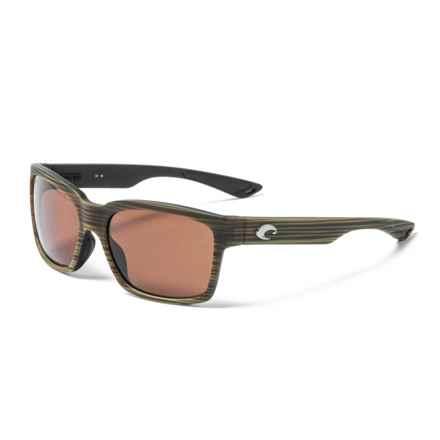 Costa Playa Sunglasses - Polarized 580P Lenses (For Men and Women) in Matte Verde Teak/Black/Copper
