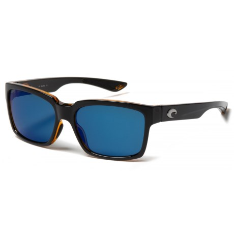 Costa Playa Sunglasses - Polarized 580P Lenses in Black/Amber/Blue Mirror