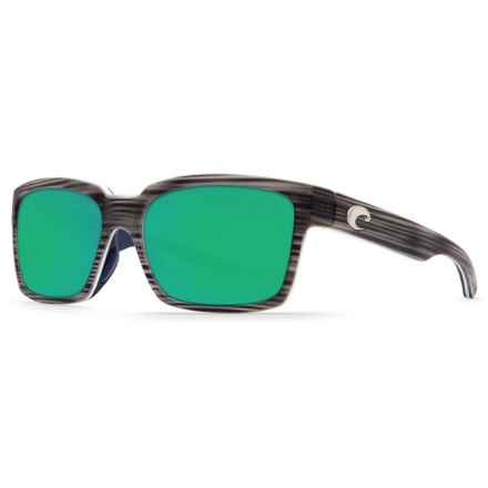 Costa Playa Sunglasses - Polarized 580P Mirror Lenses (For Men and Women) in Matte Silver Teak/White/Blue/Green