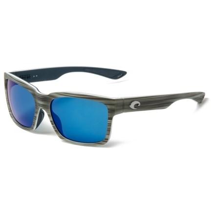 e2059db68b Costa Playa Sunglasses - Polarized 580P Mirror Lenses in Matte Silver  Teak White Blue