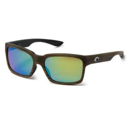 Costa Playa Sunglasses - Polarized, Mirror 580G Glass Lenses in Matte Verde Teak/Black/Green Mirror - Closeouts