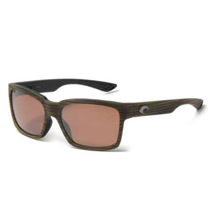 Costa Playa Sunglasses - Polarized Mirror 580P Lenses in Matte Verde Teak/Black/Silver Mirror - Closeouts