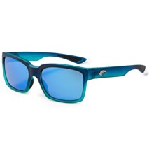 Costa Playa Sunglasses - Polarized, Mirrored 400G Glass Lenses in Matte Caribbean Fade/Blue Mirror - Closeouts