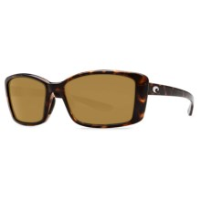 Costa Pluma Sunglasses - Polarized 580P Lenses (For Women) in Retro Tortoise/Amber - Closeouts