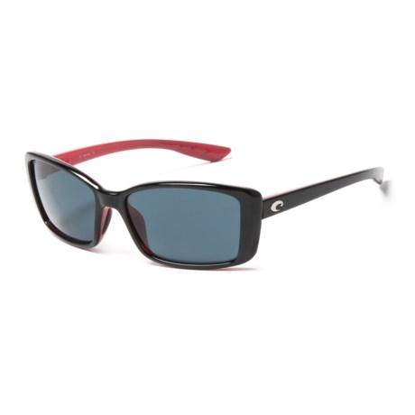 Costa Pluma Sunglasses - Polarized 580P Lenses in Black/Coral/Gray