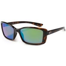 Costa Pluma Sunglasses - Polarized, Mirrored 580P Lenses (For Women) in Retro Tortoise/Green Mirror - Closeouts