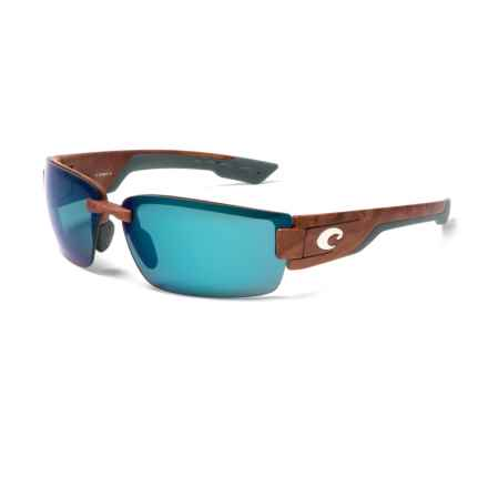 Costa Rockport Sunglasses - Polarized 580P Mirror Lenses in Gunstock/Blue Mirror - Closeouts