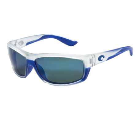 Costa Saltbreak Sunglasses - Polarized 400G Glass Mirror Lenses in Matte Crystal/Blue Trim/Blue Mirror 400G - Closeouts