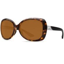 Costa Sea Fan Sunglasses - Polarized 580P Lenses (For Women) in Retro Tortoise Black Temples/Amber - Closeouts