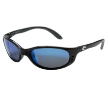 Costa Stringer Sunglasses - Polarized, Mirrored 400G Glass Lenses in Black/Blue Mirror - Closeouts