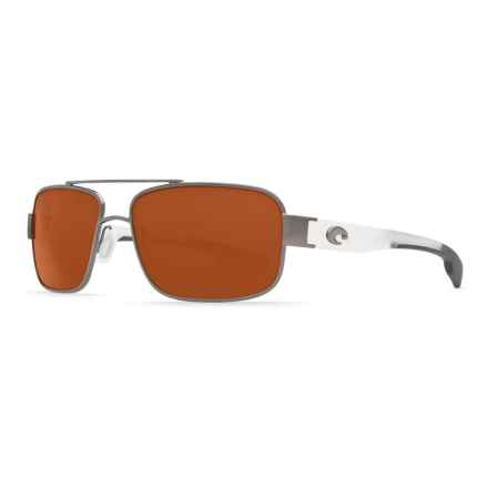 Costa Tower Sunglasses - Polarized 580P Lenses in Gunmetal/Crystal Temples/Copper - Closeouts