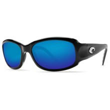 Costa Vela Sunglasses - Polarized 400G LightWAVE® Glass Mirror Lenses in Black/Blue Mirror 400G - Closeouts