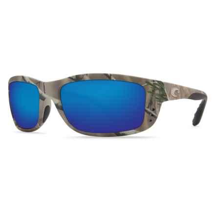 Costa Zane Camo Sunglasses - Polarized 400G Glass Mirror Lenses in Realtree Ap/Blue Mirror 400G - Closeouts