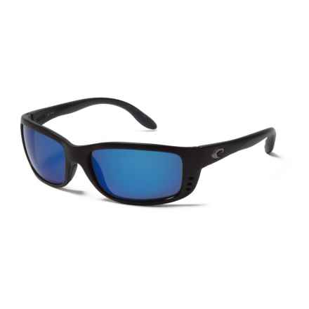 Costa Zane Sunglasses - Polarized 400G Mirror Lenses in Matte Black/Blue Mirror - Closeouts