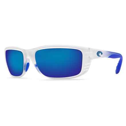 Costa Zane Sunglasses - Polarized 400G Mirror Lenses in Matte Crystal/Blue Trim/Blue Mirror 400G - Closeouts