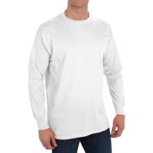 Cotton Blend Crew Shirt - Long Sleeve (For Men) in White - 2nds