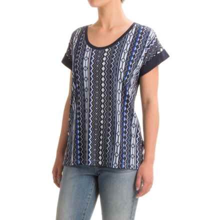 Cotton-Blend Print T-Shirt - Scoop Neck, Short Sleeve (For Women) in Navy/Blue - 2nds