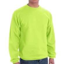 Cotton-Blend Sweatshirt - Crew Neck (For Big Men and Plus Size Women) in Fluorescent Yellow - 2nds