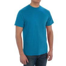 Cotton Blend T-Shirt - Short Sleeve (For Men) in Turquoise - 2nds