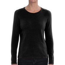 Cotton Crew Neck T-Shirt - Long Sleeve (For Women) in Black - 2nds