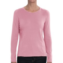 Cotton Crew Neck T-Shirt - Long Sleeve (For Women) in Pink - 2nds