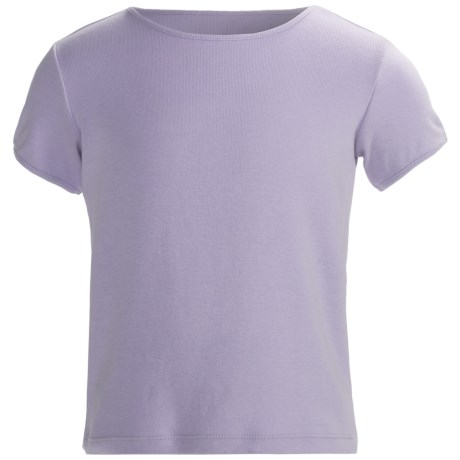 Cotton Crew Neck T-Shirt - Short Sleeve (For Girls) in Lavender