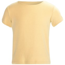 Cotton Crew Neck T-Shirt - Short Sleeve (For Girls) in Soft Yellow