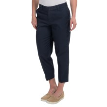 Cotton Cropped Pants - Flat Front (For Women) in Military Blue - 2nds