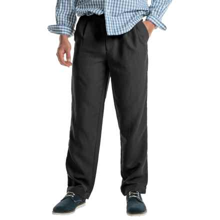 Cotton Cuffed Pleated Pants (For Men) in Black - Closeouts
