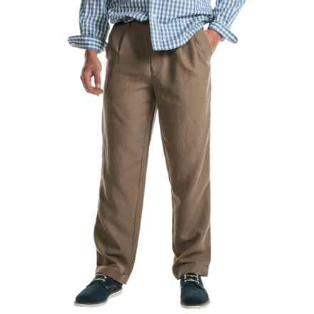 Cotton Cuffed Pleated Pants (For Men) in Brown - Closeouts