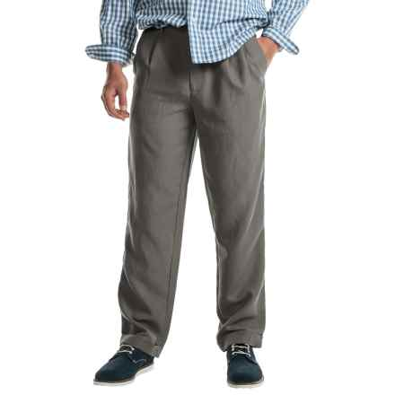 Cotton Cuffed Pleated Pants (For Men) in Grey - Closeouts
