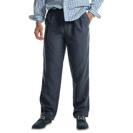 Cotton Cuffed Pleated Pants (For Men) in Navy - Closeouts