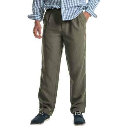 Cotton Cuffed Pleated Pants (For Men) in Olive - Closeouts