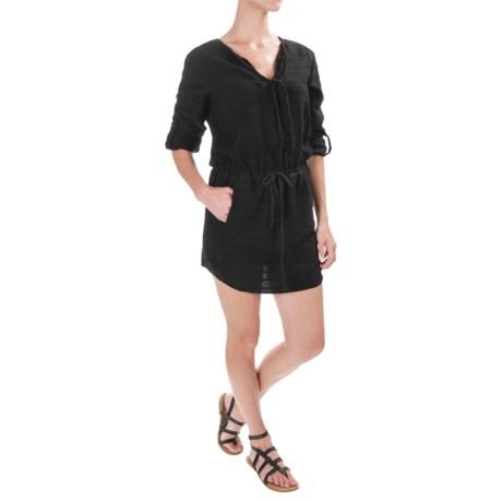 Cotton Drawstring-Waist 2-Pocket Dress - Long Sleeve (For Women) in Black