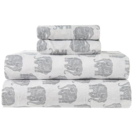Image of Cotton Flannel New Elephant Grey Sheet Set - King