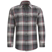 Cotton Flannel Plaid Shirt - Long Sleeve (For Men) in Grey - Closeouts
